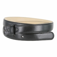 "Smooth Dress Belt Strap Genuine Leather With Snaps 1"" wide - Black"
