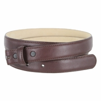 "Smooth Dress Belt Strap Genuine Leather With Snaps 1"" wide - Burgundy"