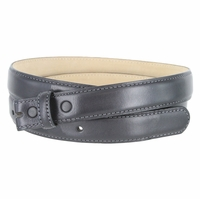 "Smooth Dress Belt Strap Genuine Leather With Snaps 1"" wide - Charcoal"