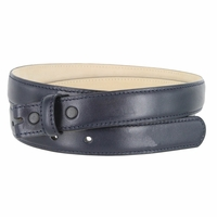 "Smooth Dress Belt Strap Genuine Leather With Snaps 1"" wide - Navy"