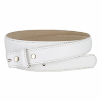 "Smooth Dress Belt Strap Genuine Leather With Snaps 1"" wide - White"