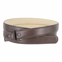 "Smooth Dress Belt Strap With Snaps Genuine Leather 1"" wide - Brown"
