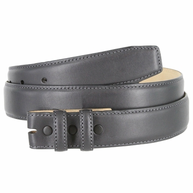 "Smooth Genuine Leather Belt Strap 1 1/4"" wide (32mm) - Charcoal Gray"