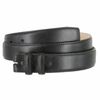 "Smooth Genuine Leather Belt Strap 1 1/4"" wide (32mm) with Two Loop - Black"