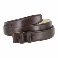 "Smooth Genuine Leather Belt Strap 1 1/4"" wide (32mm) with Two Loop - Brown"