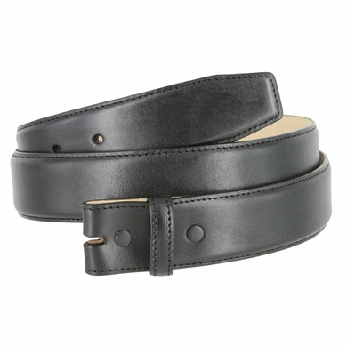 "Smooth Genuine Leather Belt Strap 1 3/8"" wide (35mm) - Black"