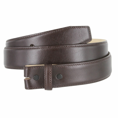 "Smooth Genuine Leather Belt Strap 1 3/8"" wide (35mm) with Single Loop - Brown"