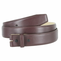 "Smooth Genuine Leather Belt Strap 1 3/8"" wide (35mm) with Single Loop - Burgundy"