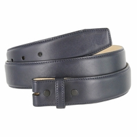"Smooth Genuine Leather Belt Strap 1 3/8"" wide (35mm) with Single Loop - Navy"