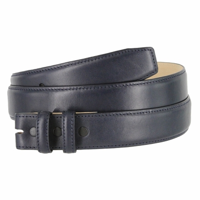 "Smooth Genuine Leather Belt Strap 1 1/4"" wide (32mm) with Two Loop - Navy"