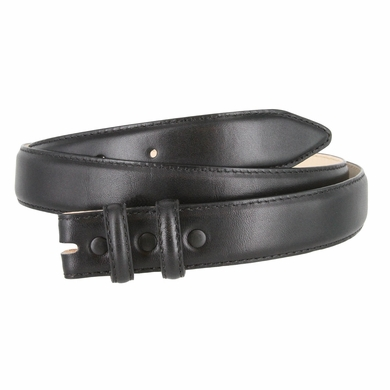 "Smooth Genuine Leather Dress Belt Strap 1 1/8"" wide (30mm) with Two Loop - Black"