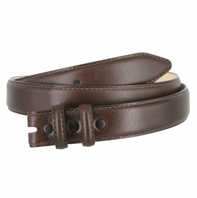 "Smooth Genuine Leather Dress Belt Strap 1 1/8"" wide (30mm) with Two Loop - Brown"