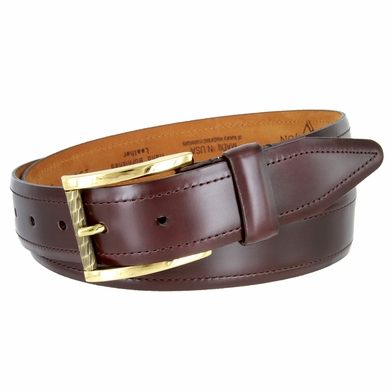 LeJon Smooth Mens Dress Belt Hand Brushed Leather - Burgundy