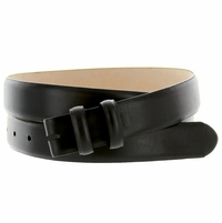 "Smooth Leather Belt Strap 1 1/8"" wide (30mm) - Black"