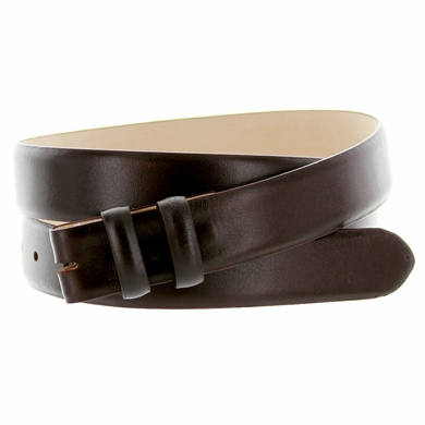 "Smooth Leather Belt Strap 1 1/8"" wide (30mm) - Brown"