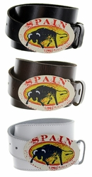 Spain Belt Buckle Casual Jean Leather Belt