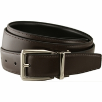 "Stafford Reversible Brown/Black Leather Dress Belt (1-1/8"" or 30mm)"