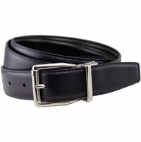 "Stafford Reversible Navy/Black Leather Dress Belt (1-1/8"" or 30mm)"