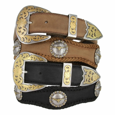 SteerBerry LongHorn Steer Concho Western Leather Belt