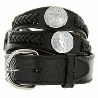 Stone Mountain Western Embossed Leather Belt - Black
