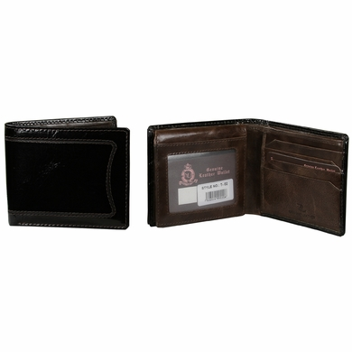 T-02 Turin Collection Genuine Leather Dress Wallet - Black / Brown