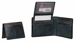 T-48 Turin Collection Genuine Leather Dress Wallet - Black / Blue