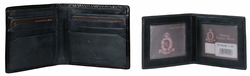 T-50 Turin Collection Genuine Leather Dress Wallet - Black / Blue