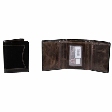 T-91 Turin Collection Genuine Leather Dress Wallet - Black / Brown