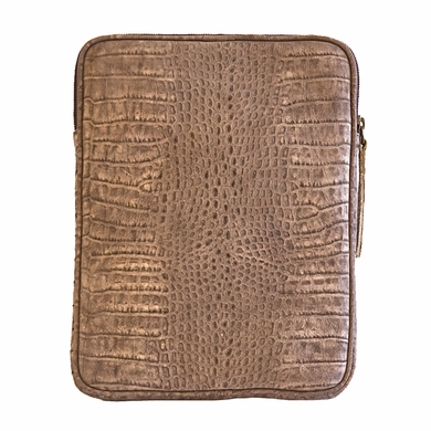 Tablet eBook iPad Kindle eReader Cowhide Leather Case - Lizard Print Brown