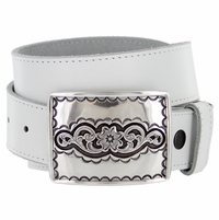 "H8140 Southwestern Antique Engraved Buckle Genuine Full Grain Leather Casual Jean Belt 1-1/2""(38mm) Wide"