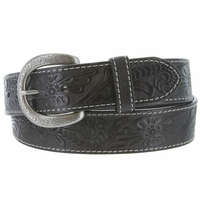 Terry Western Engraved Buckle Genuine Leather Belt 1-1/2 inch (38mm) - Black