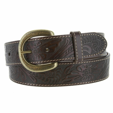 Terry Western Engraved Buckle Genuine Leather Belt 1-1/2 inch (38mm) - Brown