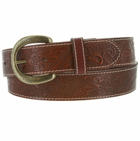 Terry Western Engraved Buckle Genuine Leather Belt 1-1/2 inch (38mm) - Tan