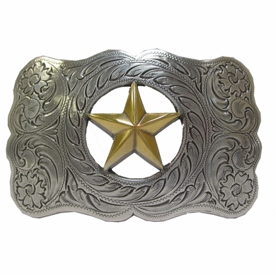 Texas Ranger Star Gold and sterling silver engraved Western Belt BuckleH-8459