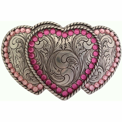 Three Hearts Belt Buckle W/ Pink Swarovski Rhinestone Crystals