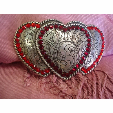Three Hearts Belt Buckle W/ Red Swarovski Rhinestone Crystals
