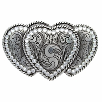 Three Hearts Belt Buckle With Swarovski Rhinestone Crystals