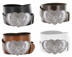 Three Hearts Ladies Western Full Grain Leather Belt