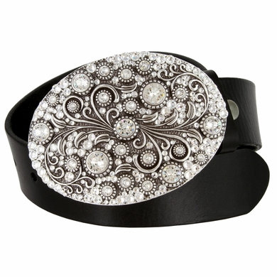 Timeless Tranquility Designer Crystal Full Grain Leather Belt