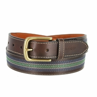 Tommy Hilfiger Men's Casual Dress Belt with Center Stripe Stitch Brown/Navy/Green
