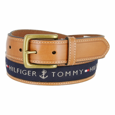 "Tommy Hilfiger Men's Ribbon Inlay Leather Casual Belt 1-3/8"" Wide - Navy"