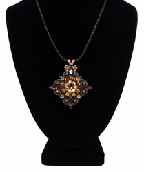 Topaz Swarovski Rhinestone Crystal Diamond Shape Concho Necklace