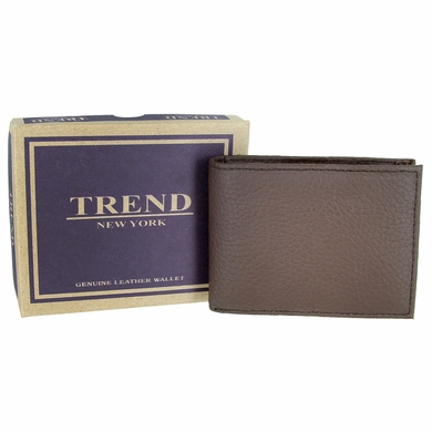 Trend New York Genuine Leather Bifold Wallet - Brown