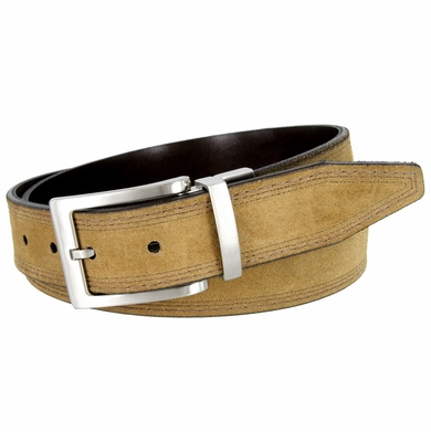"Triple Stitched Design Reversible Suede Smooth Leather Dress Belt 1-3/8"" wide - 31094"