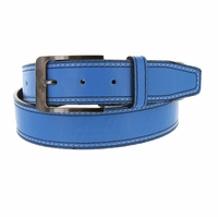 Triple Stitched Genuine Leather Golf Belt Sky Blue