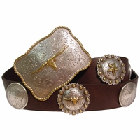 Trophy Buckle Concho Leather Western Belt