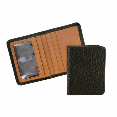 Tucson 121 Black Lejon Bison Leather Wallet Card Holder Made In USA