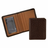Tucson 122 Brown Lejon Bison Leather Wallet Card Holder Made In USA