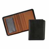Tucson 125 Black-Chroxml Lejon Bison Leather Wallet Card Holder Made In USA