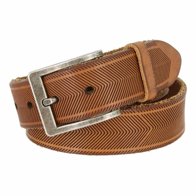 "Tulliani Aringa Herringbone Tooled Leather Belt 1-3/8"" Wide - Tan"